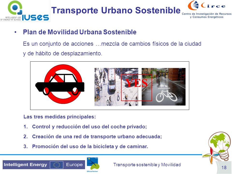 Transporte sostenible y Movilidad 18 Transporte Urbano Sostenible Plan de Movilidad Urbana Sostenible Es un conjunto de acciones …mezcla de cambios fí