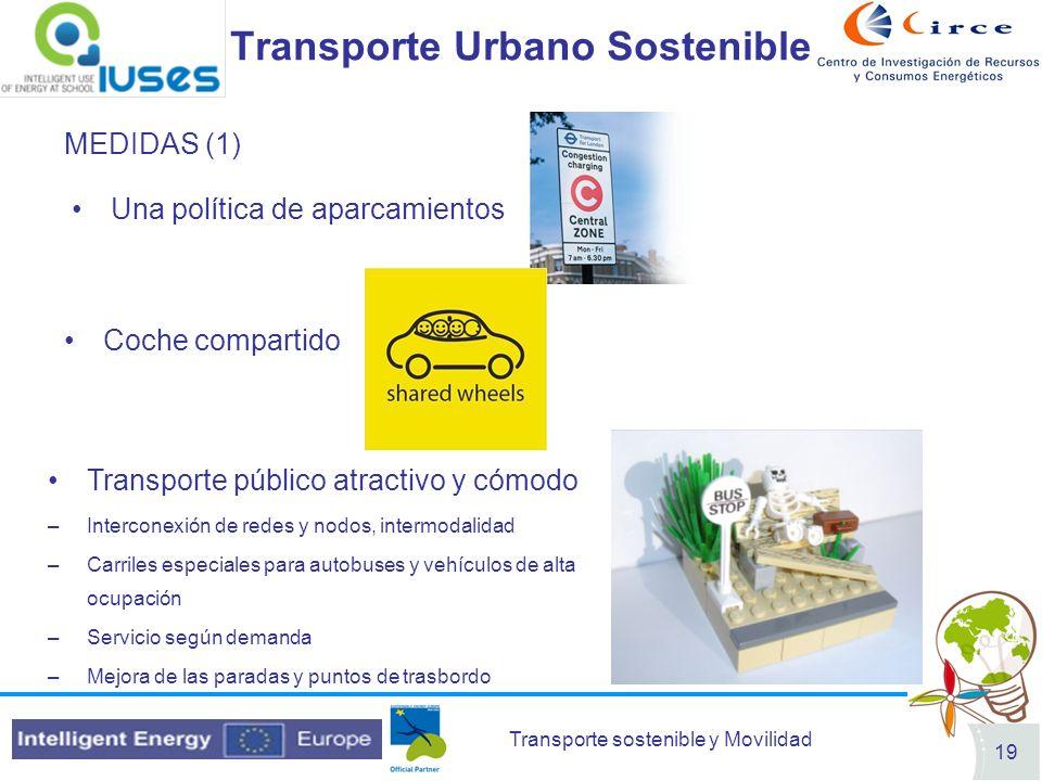 Transporte sostenible y Movilidad 19 Transporte Urbano Sostenible MEDIDAS (1) Una política de aparcamientos Coche compartido Transporte público atract