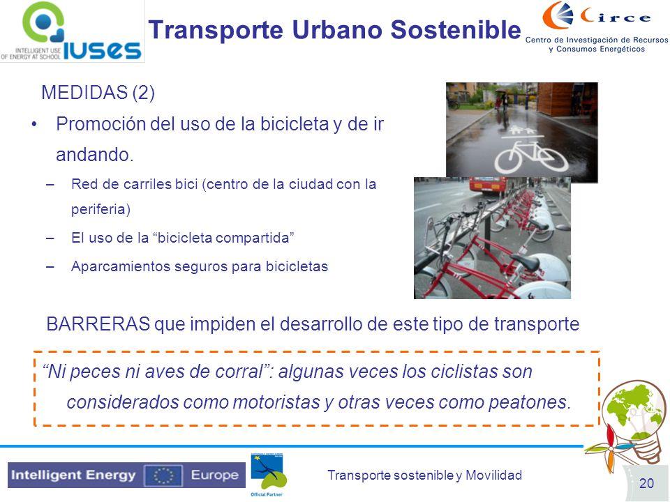 Transporte sostenible y Movilidad 20 Transporte Urbano Sostenible MEDIDAS (2) Promoción del uso de la bicicleta y de ir andando. –Red de carriles bici