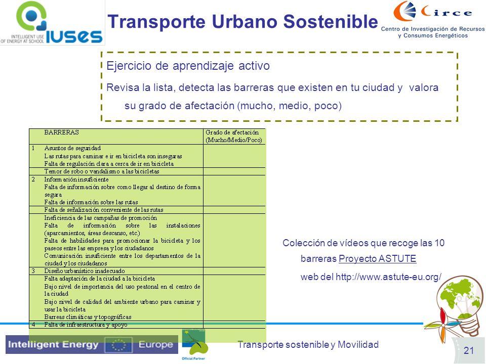Transporte sostenible y Movilidad 21 Transporte Urbano Sostenible Ejercicio de aprendizaje activo Revisa la lista, detecta las barreras que existen en