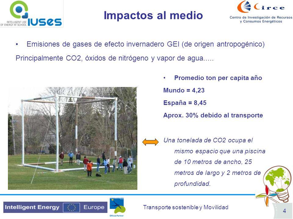 Transporte sostenible y Movilidad 4 Impactos al medio Emisiones de gases de efecto invernadero GEI (de origen antropogénico) Principalmente CO2, óxido
