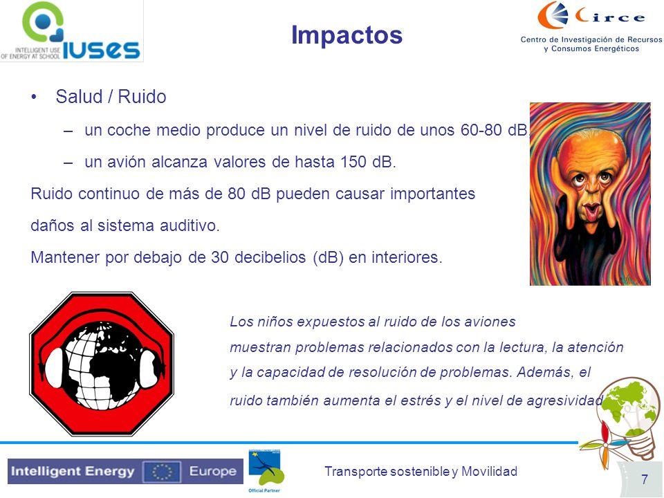Transporte sostenible y Movilidad 7 Impactos Salud / Ruido –un coche medio produce un nivel de ruido de unos 60-80 dB, –un avión alcanza valores de ha