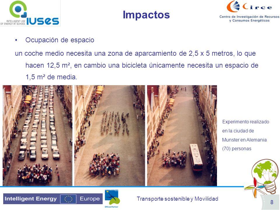 Transporte sostenible y Movilidad 8 Impactos Ocupación de espacio un coche medio necesita una zona de aparcamiento de 2,5 x 5 metros, lo que hacen 12,