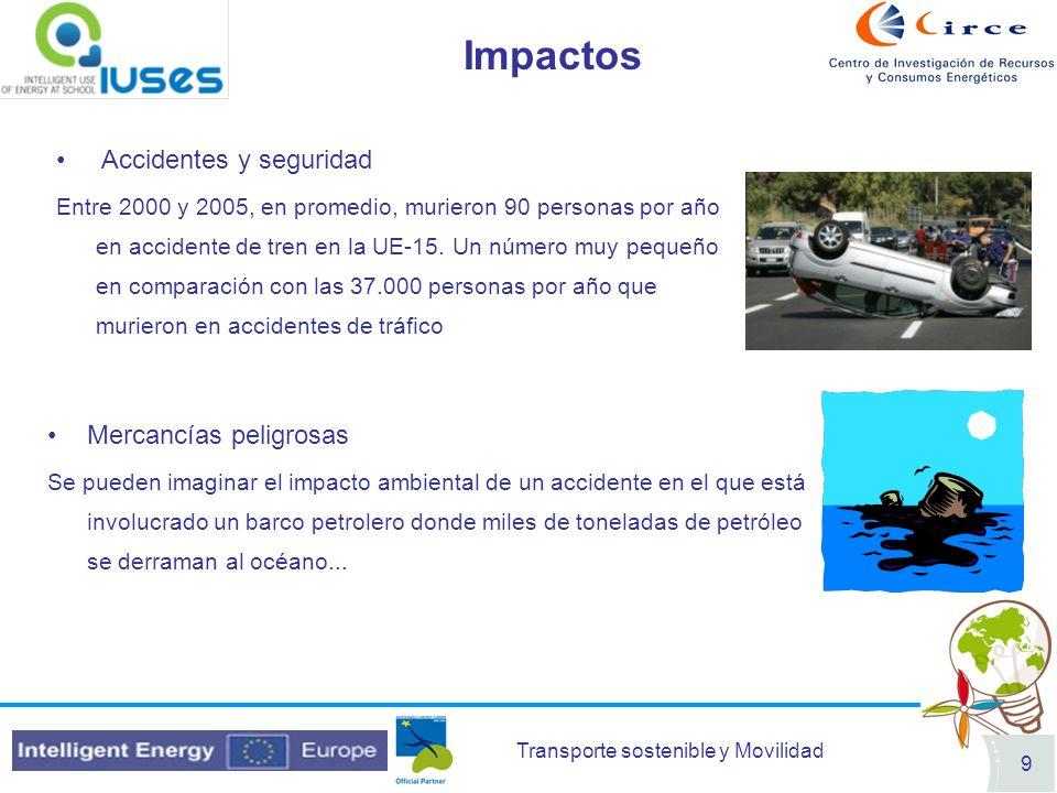 Transporte sostenible y Movilidad 9 Impactos Accidentes y seguridad Entre 2000 y 2005, en promedio, murieron 90 personas por año en accidente de tren