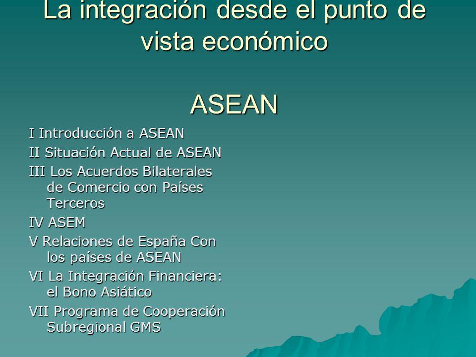La integración desde el punto de vista económico ASEAN I Introducción a ASEAN II Situación Actual de ASEAN III Los Acuerdos Bilaterales de Comercio con Países Terceros IV ASEM V Relaciones de España Con los países de ASEAN VI La Integración Financiera: el Bono Asiático VII Programa de Cooperación Subregional GMS