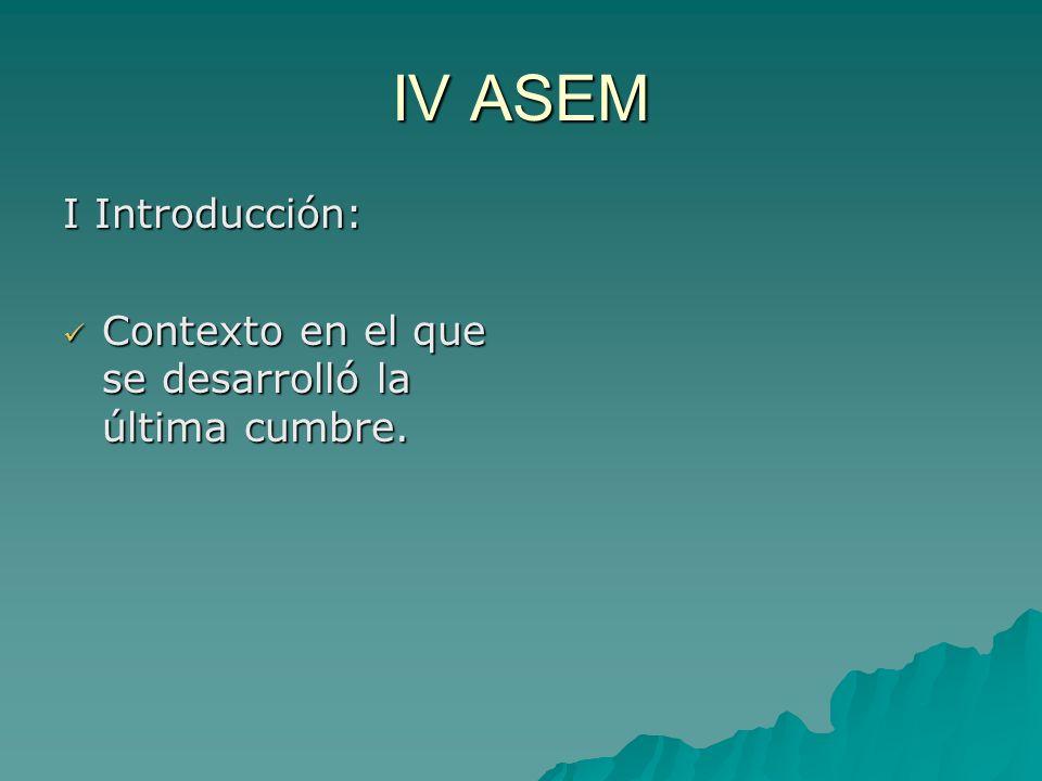 IV ASEM I Introducción: Contexto en el que se desarrolló la última cumbre.