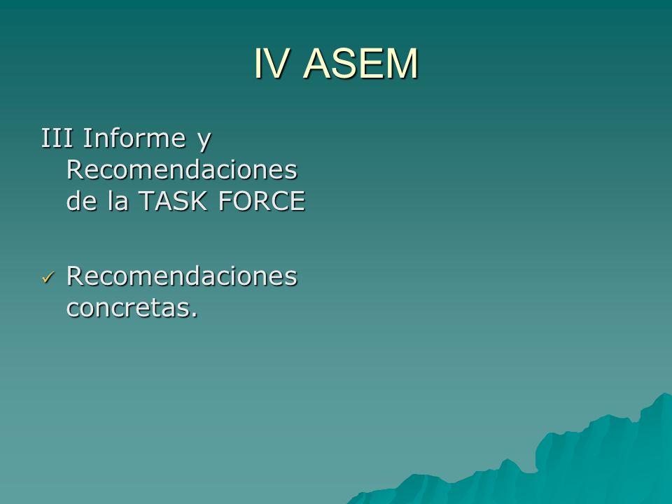 IV ASEM III Informe y Recomendaciones de la TASK FORCE Recomendaciones concretas.