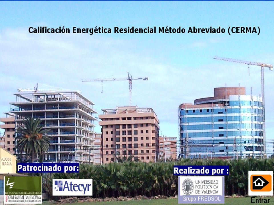 Bienvenido a la demostración del programa de calificación energética residencial método abreviado Versión 1.0 Febrero 2009 Apariencia general Datos de entrada edificio Resultados gráficos Resultados numéricos Utilidades Datos de entrada sistema CERMA