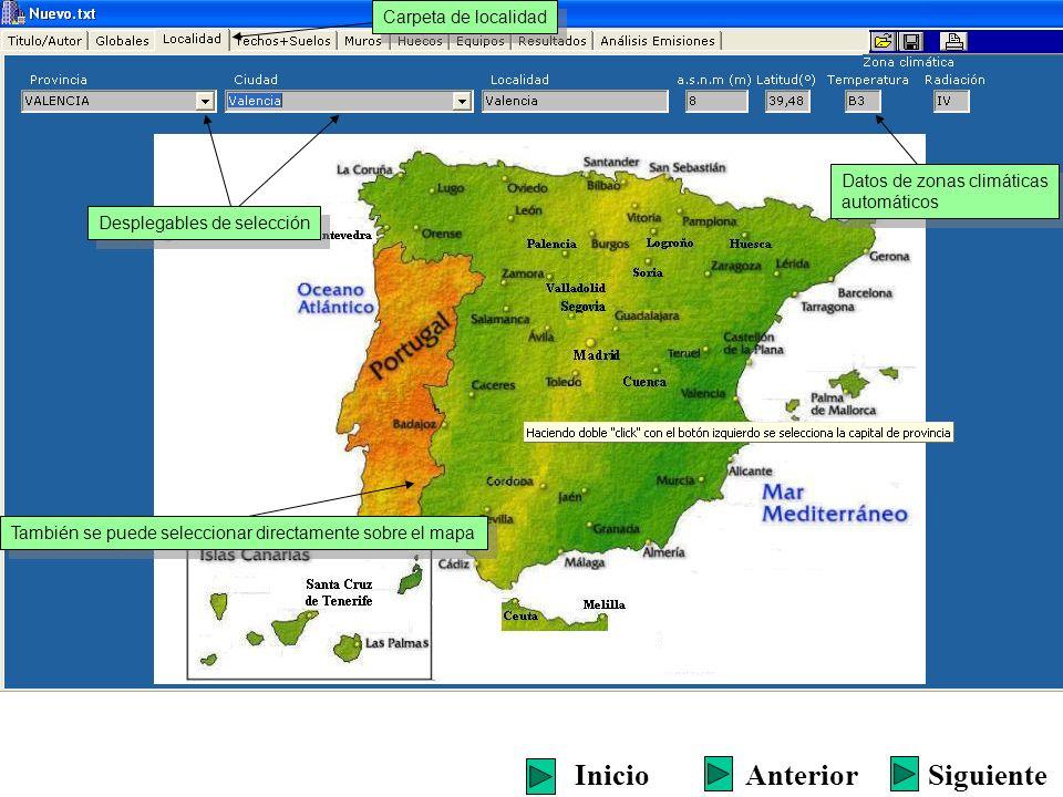 Desplegables de selección También se puede seleccionar directamente sobre el mapa Datos de zonas climáticas automáticos Datos de zonas climáticas auto