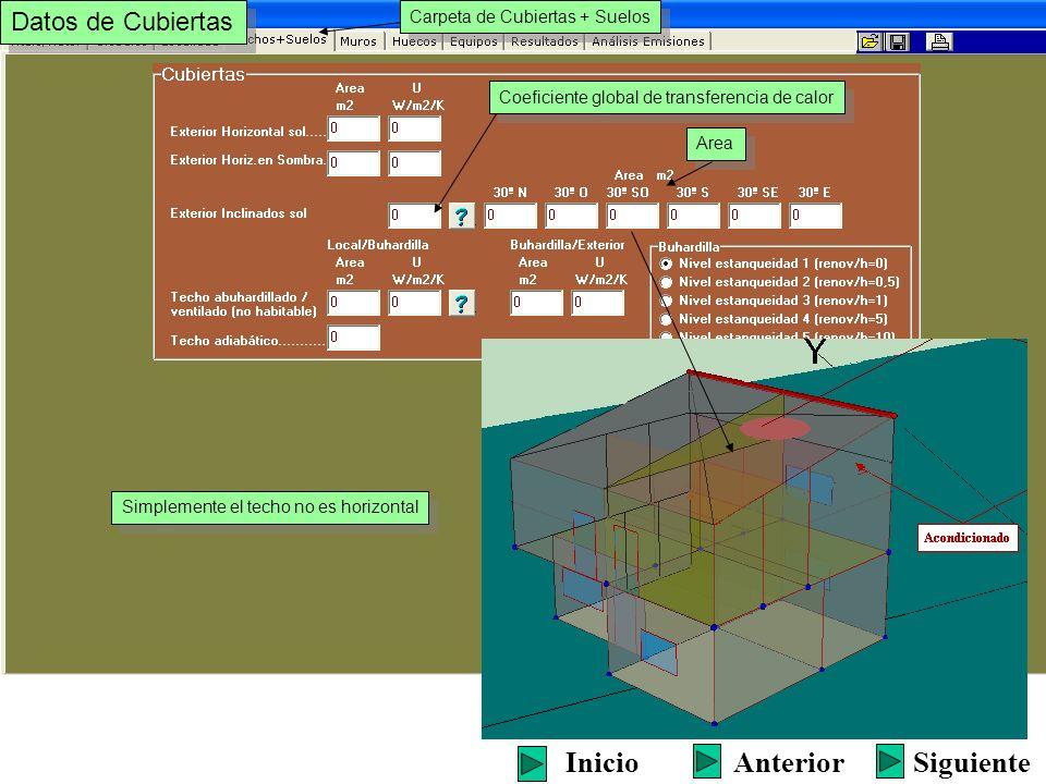 Simplemente el techo no es horizontal SiguienteInicioAnterior Carpeta de Cubiertas + Suelos Datos de Cubiertas Area Coeficiente global de transferenci