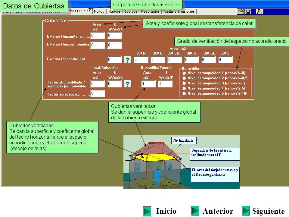 Cubiertas ventiladas Se dan la superficie y coeficiente global del techo horizontal entre el espacio acondicionado y el volumen superior (debajo de te