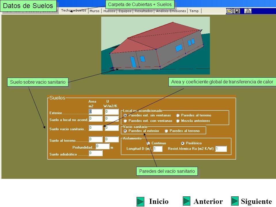 Datos de Suelos Carpeta de Cubiertas + Suelos Suelo al terreno (indicar profundidad y tipo de aislamiento) Suelo al terreno (indicar profundidad y tipo de aislamiento) Area y coeficiente global de transferencia de calor SiguienteInicioAnterior Caso de estar enterrado Tipo de aislamiento perimetral