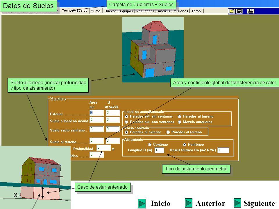 Datos de Suelos Carpeta de Cubiertas + Suelos Suelo al terreno (indicar profundidad y tipo de aislamiento) Suelo al terreno (indicar profundidad y tip