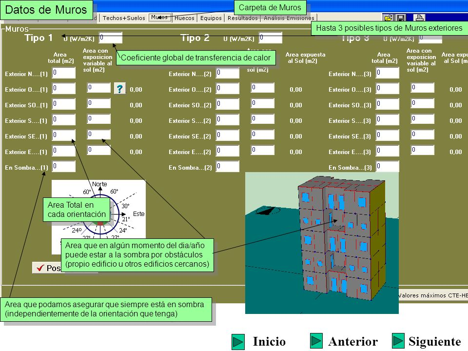 Hasta 3 posibles tipos de Muros exteriores Area Total en cada orientación Area Total en cada orientación Coeficiente global de transferencia de calor
