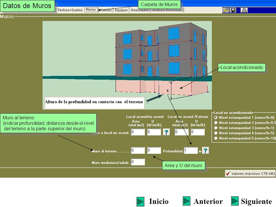 Area y U del muro Muro al terreno (indicar profundidad, distancia desde el nivel del terreno a la parte superior del muro) Muro al terreno (indicar pr