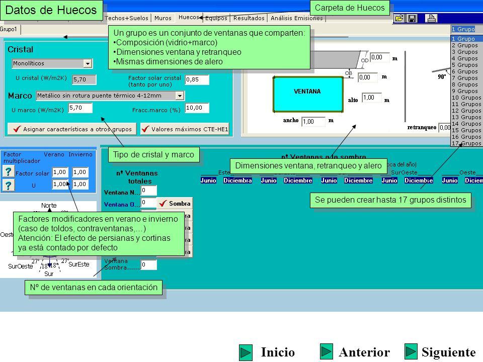 Datos de Huecos Carpeta de Huecos Un grupo es un conjunto de ventanas que comparten: Composición (vidrio+marco) Dimensiones ventana y retranqueo Misma