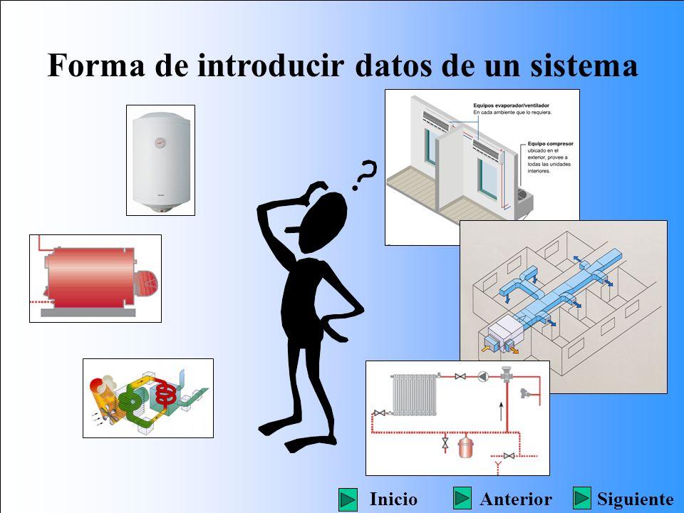 Forma de introducir datos de un sistema SiguienteInicioAnterior