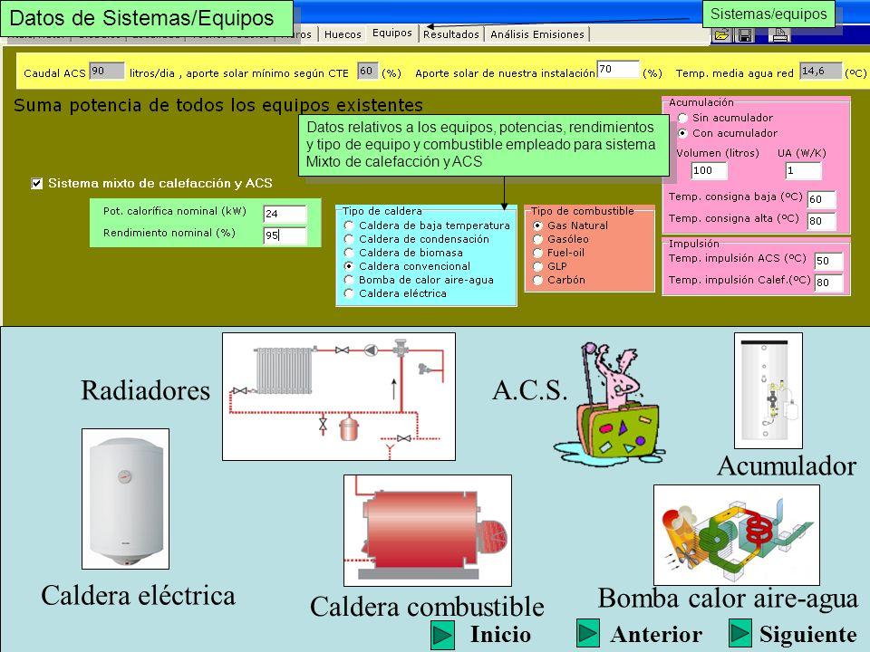 Datos relativos a los equipos, potencias, rendimientos y tipo de equipo y combustible empleado para sistema Mixto de calefacción y ACS Datos relativos