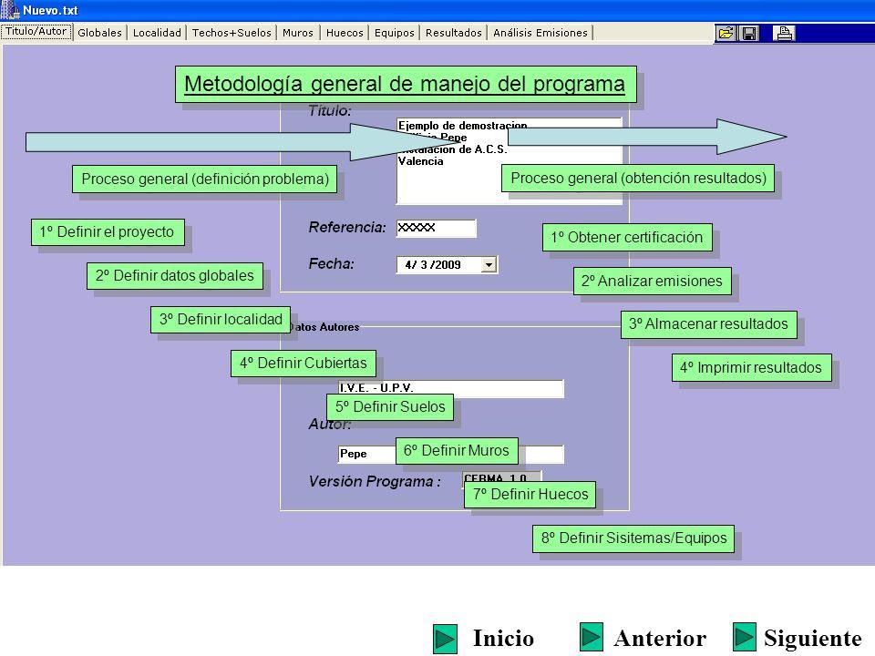 Proceso general (definición problema) SiguienteInicioAnterior 1º Definir el proyecto 2º Definir datos globales 3º Definir localidad 4º Definir Cubiert