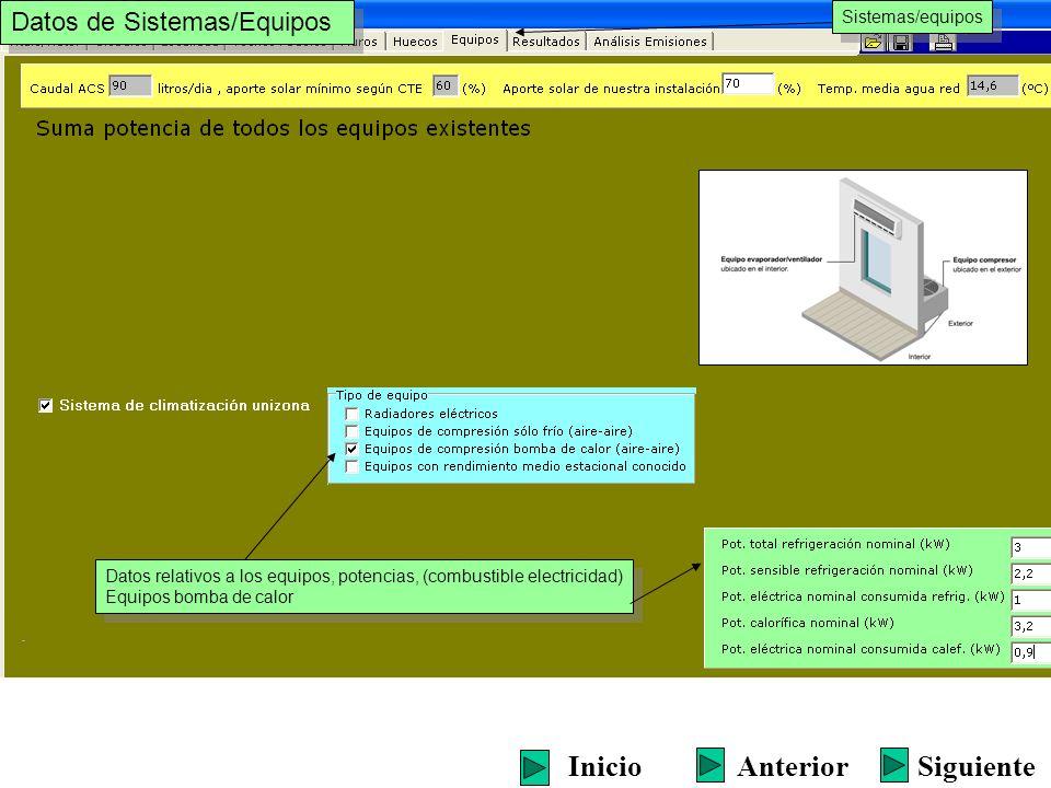 Sistemas/equipos Datos relativos a los equipos, potencias, (combustible electricidad) Equipos bomba de calor Datos relativos a los equipos, potencias,