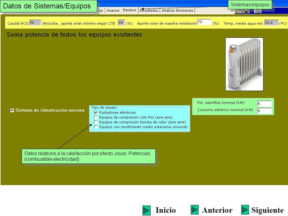 Sistemas/equipos Datos relativos a la calefacción por efecto Joule, Potencias, (combustible electricidad) Datos relativos a la calefacción por efecto