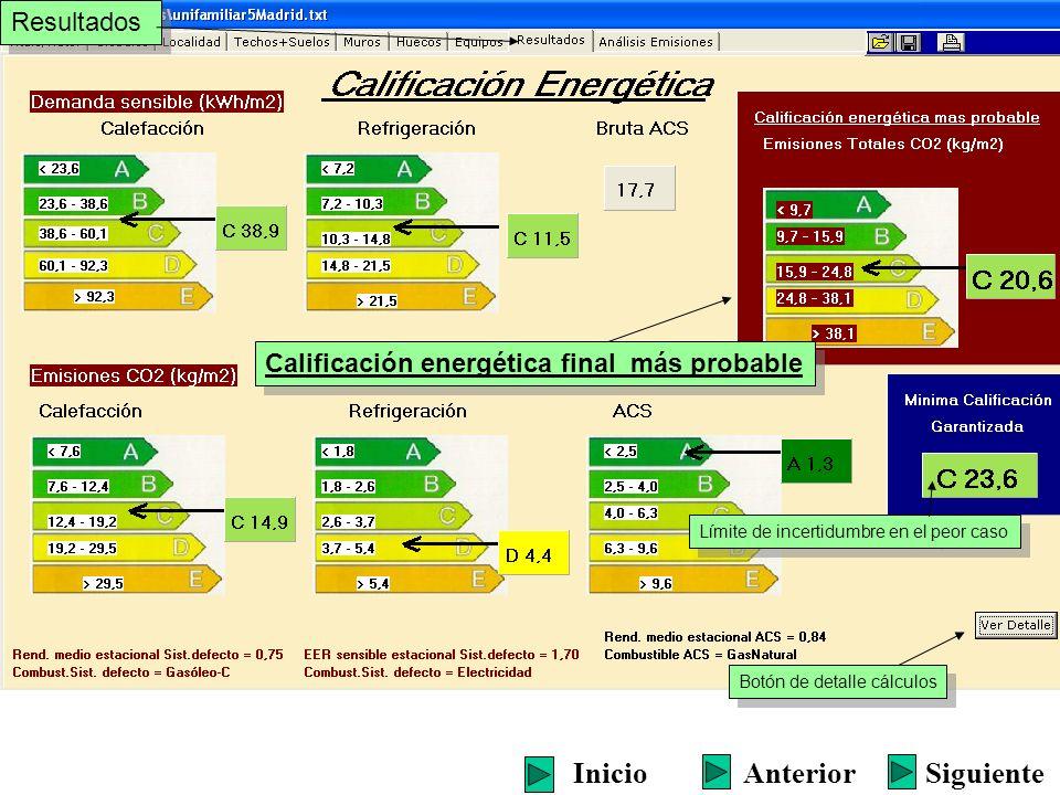 Resultados Calificación energética final más probable Límite de incertidumbre en el peor caso Botón de detalle cálculos SiguienteInicioAnterior