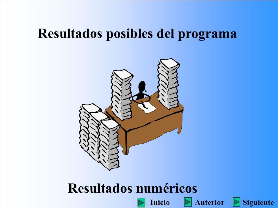 Resultados posibles del programa Resultados numéricos SiguienteInicioAnterior
