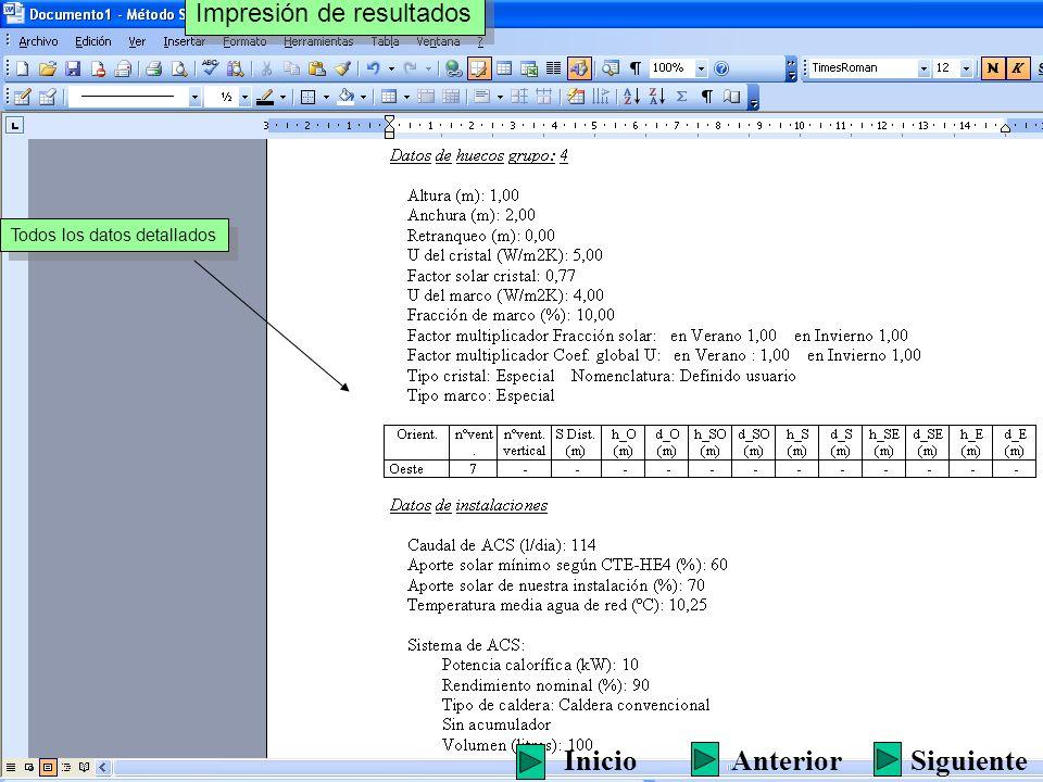 Todos los datos detallados Impresión de resultados SiguienteInicioAnterior