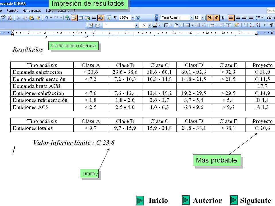 Certificación obtenida Mas probable Límite Impresión de resultados SiguienteInicioAnterior