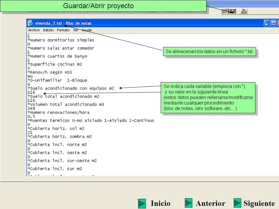 Se almacenan los datos en un fichero *.txt Se indica cada variable (empieza con *) y su valor en la siguiente línea (estos datos pueden rellenarse/mod