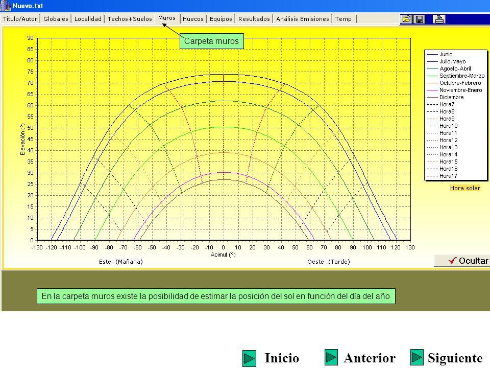 Carpeta muros En la carpeta muros existe la posibilidad de estimar la posición del sol en función del día del año SiguienteInicioAnterior