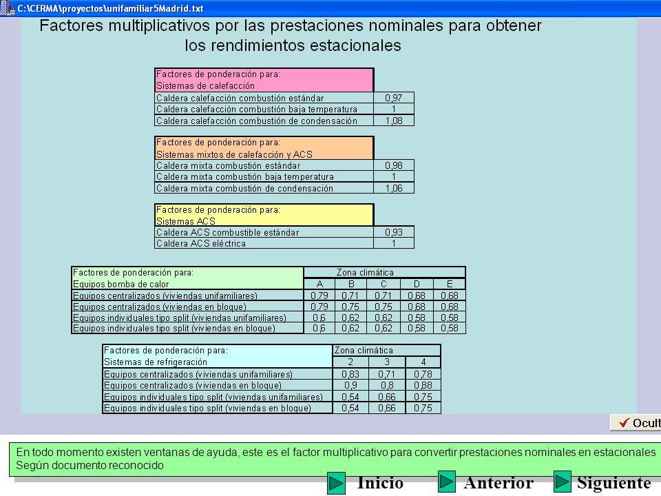 En todo momento existen ventanas de ayuda, este es el factor multiplicativo para convertir prestaciones nominales en estacionales Según documento reco