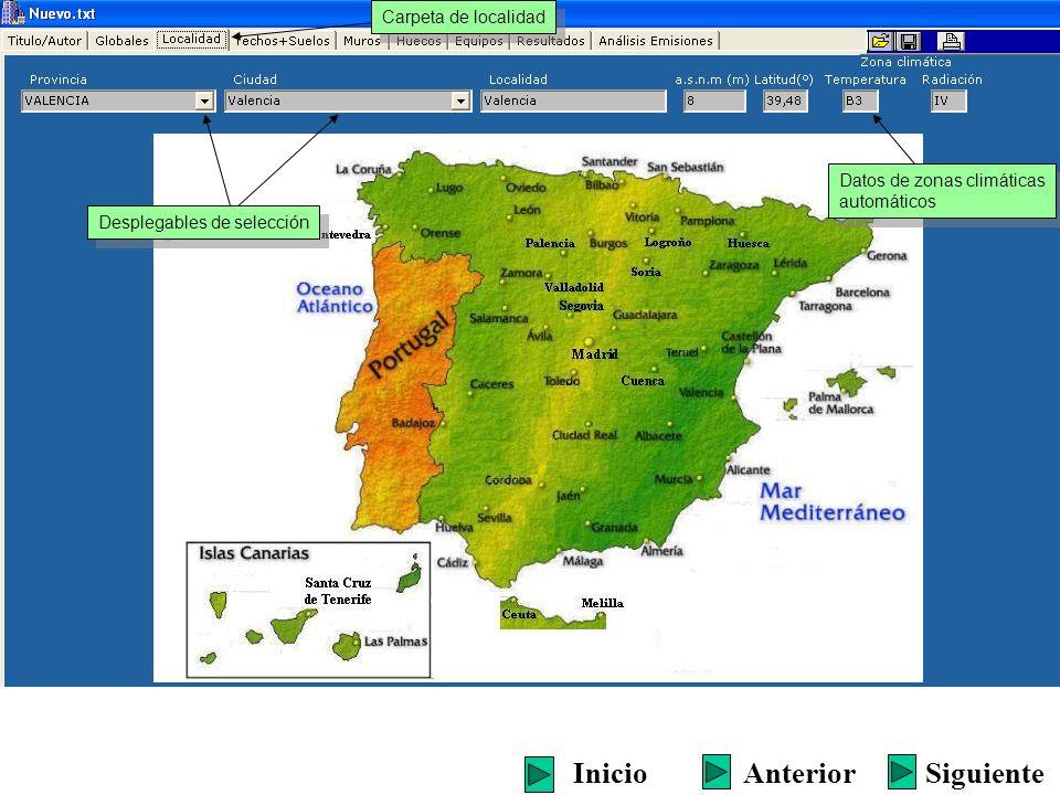 Desplegables de selección También se puede seleccionar directamente sobre el mapa Datos de zonas climáticas automáticos Datos de zonas climáticas automáticos Carpeta de localidad SiguienteInicioAnterior