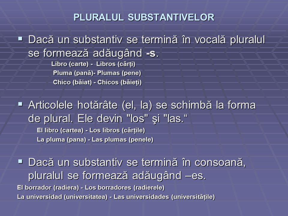 PLURALUL SUBSTANTIVELOR Dacă un substantiv se termină în vocală pluralul se formează adăugând -s.