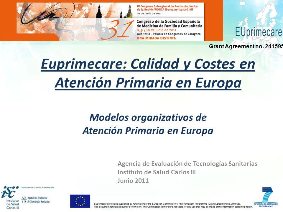 Euprimecare: Calidad y Costes en Atención Primaria en Europa Modelos organizativos de Atención Primaria en Europa Agencia de Evaluación de Tecnologías