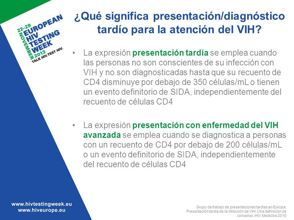 ¿Qué significa presentación/diagnóstico tardío para la atención del VIH? La expresión presentación tardía se emplea cuando las personas no son conscie