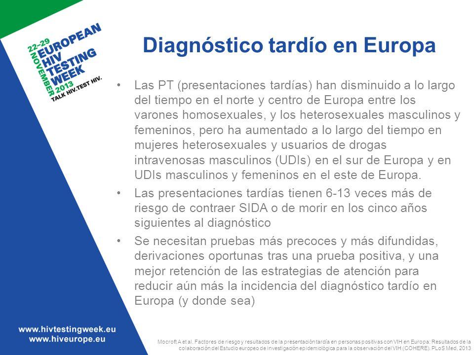 Diagnóstico tardío en Europa Las PT (presentaciones tardías) han disminuido a lo largo del tiempo en el norte y centro de Europa entre los varones hom