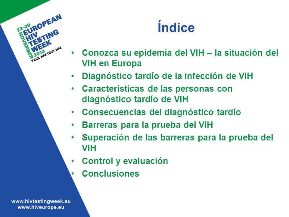 Las barreras para la prueba del VIH están presentes en tres niveles –A nivel del paciente –A nivel del personal sanitario –A nivel institucional/político