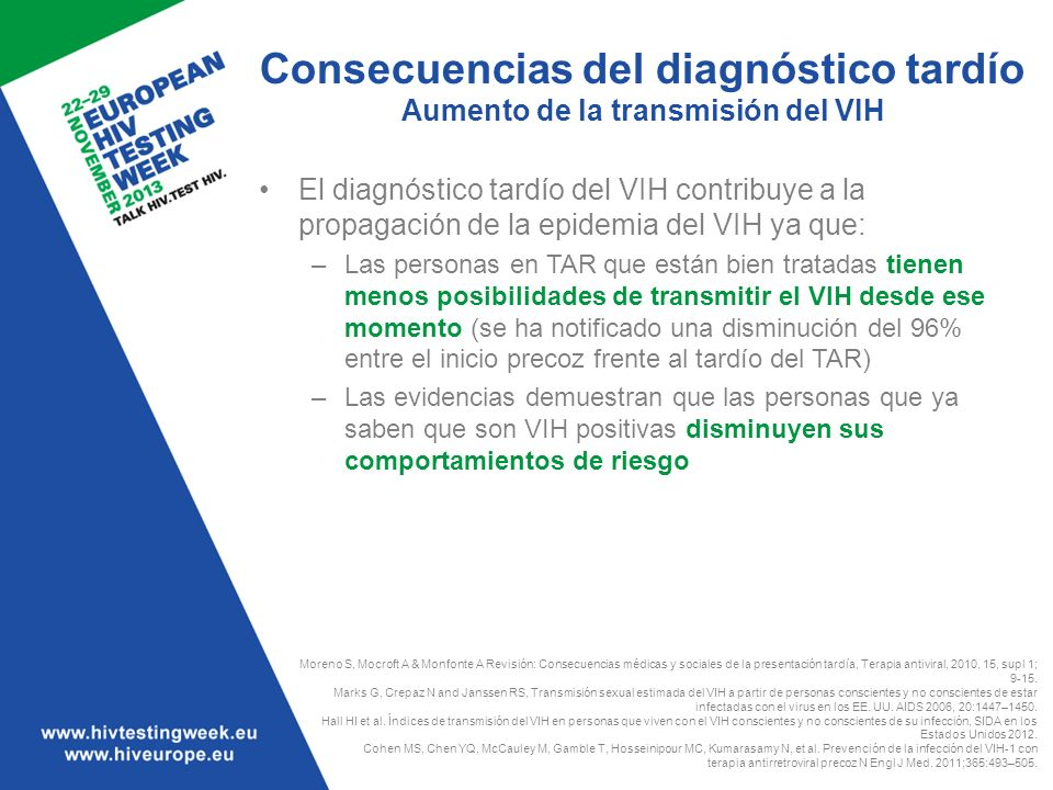 Consecuencias del diagnóstico tardío Aumento de la transmisión del VIH El diagnóstico tardío del VIH contribuye a la propagación de la epidemia del VI