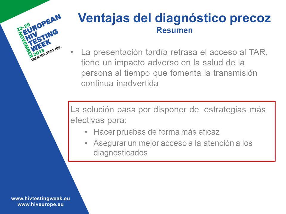 Ventajas del diagnóstico precoz Resumen La presentación tardía retrasa el acceso al TAR, tiene un impacto adverso en la salud de la persona al tiempo
