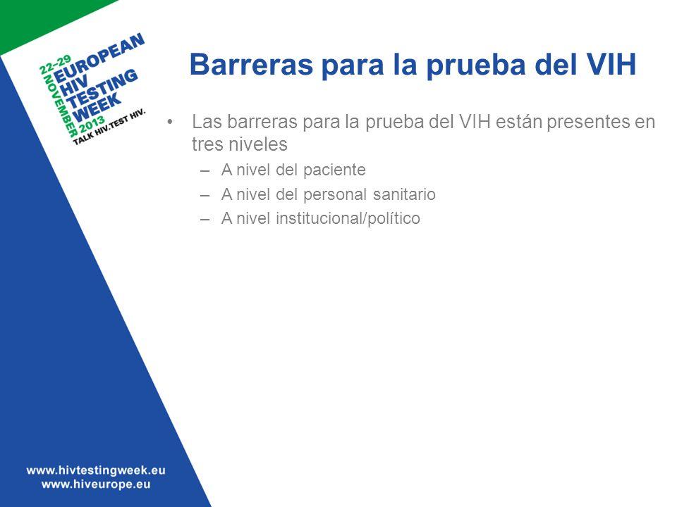 Las barreras para la prueba del VIH están presentes en tres niveles –A nivel del paciente –A nivel del personal sanitario –A nivel institucional/polít