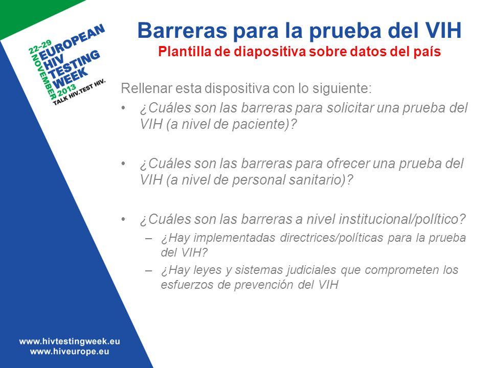 Barreras para la prueba del VIH Plantilla de diapositiva sobre datos del país Rellenar esta dispositiva con lo siguiente: ¿Cuáles son las barreras par