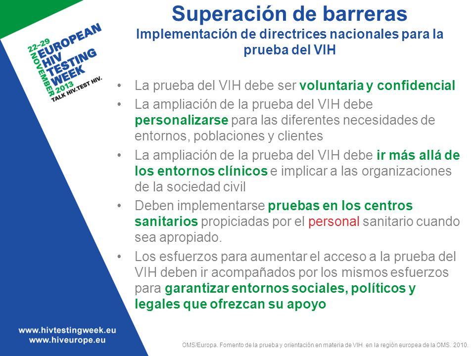 Superación de barreras Implementación de directrices nacionales para la prueba del VIH La prueba del VIH debe ser voluntaria y confidencial La ampliac