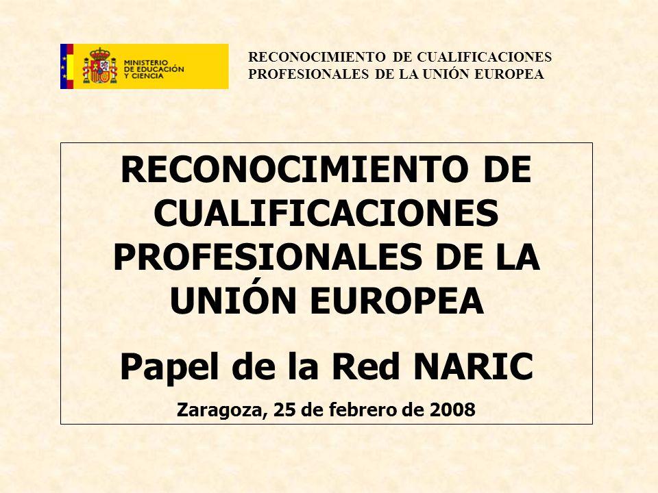 RECONOCIMIENTO DE CUALIFICACIONES PROFESIONALES DE LA UNIÓN EUROPEA Papel de la Red NARIC Zaragoza, 25 de febrero de 2008