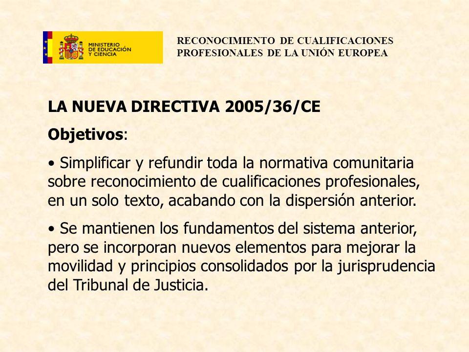 RECONOCIMIENTO DE CUALIFICACIONES PROFESIONALES DE LA UNIÓN EUROPEA LA NUEVA DIRECTIVA 2005/36/CE Objetivos: Simplificar y refundir toda la normativa
