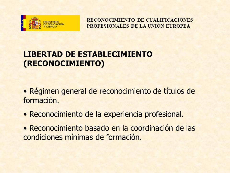 RECONOCIMIENTO DE CUALIFICACIONES PROFESIONALES DE LA UNIÓN EUROPEA LIBERTAD DE ESTABLECIMIENTO (RECONOCIMIENTO) Régimen general de reconocimiento de