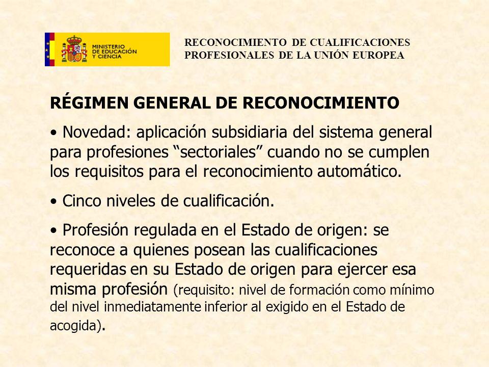 RECONOCIMIENTO DE CUALIFICACIONES PROFESIONALES DE LA UNIÓN EUROPEA RÉGIMEN GENERAL DE RECONOCIMIENTO Novedad: aplicación subsidiaria del sistema gene