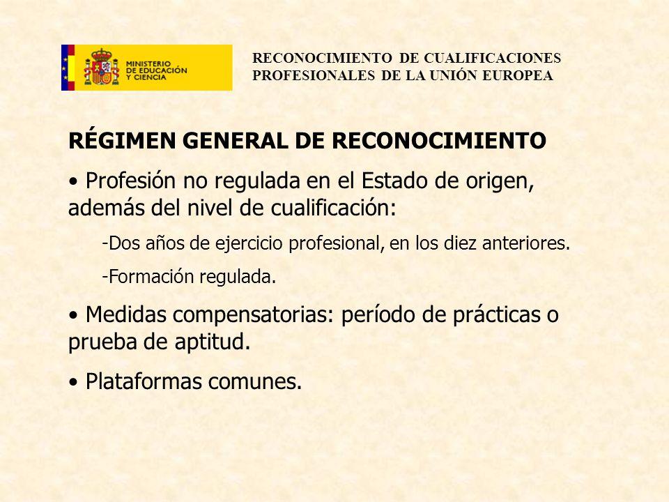 RECONOCIMIENTO DE CUALIFICACIONES PROFESIONALES DE LA UNIÓN EUROPEA RÉGIMEN GENERAL DE RECONOCIMIENTO Profesión no regulada en el Estado de origen, ad