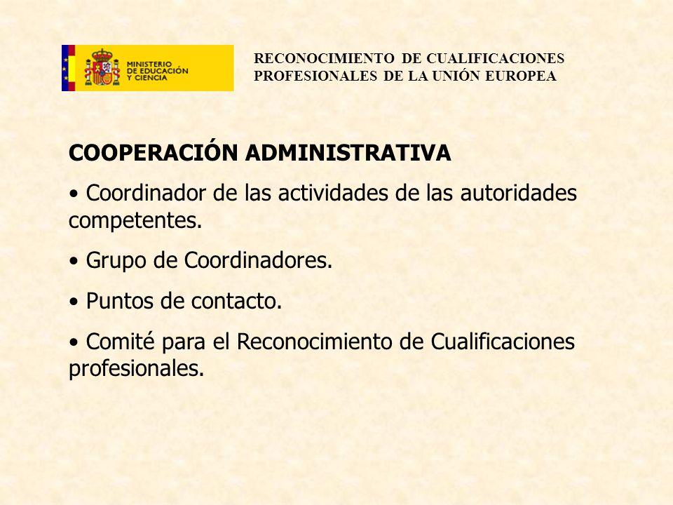 RECONOCIMIENTO DE CUALIFICACIONES PROFESIONALES DE LA UNIÓN EUROPEA COOPERACIÓN ADMINISTRATIVA Coordinador de las actividades de las autoridades compe