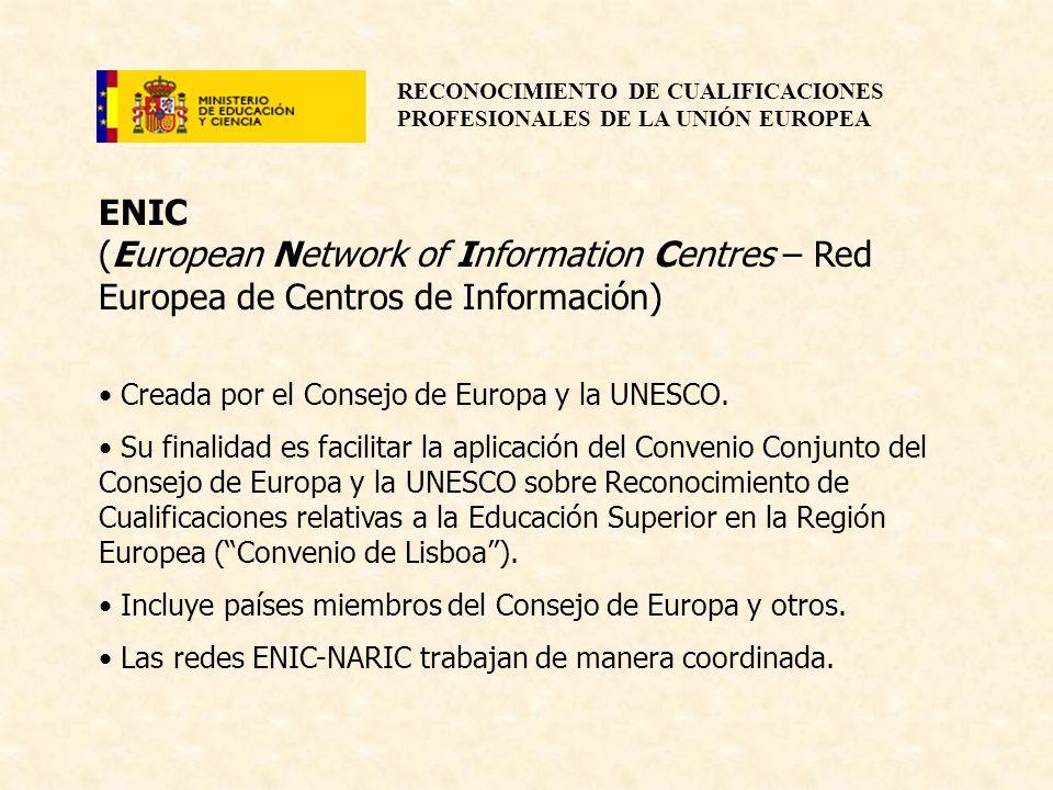 RECONOCIMIENTO DE CUALIFICACIONES PROFESIONALES DE LA UNIÓN EUROPEA ENIC (European Network of Information Centres – Red Europea de Centros de Informac